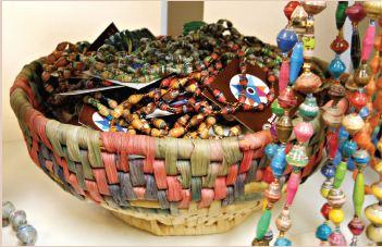 Beads in a wicker basket
