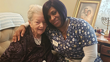 Hospice Patient Ester Bilsky with Aide