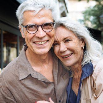 Happy older couple on a walk